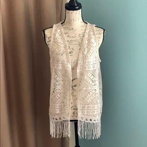 Maurices Crochet Lace Boho Vest with Fringe